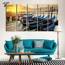 5 Piece Canvas Painting Set Large Italy Venice Gondolas Wall Painting Decorative PICTURES For Living Room Walls Cheap Unframed