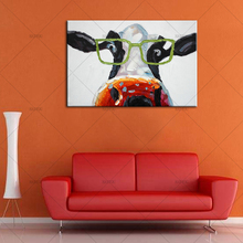 Big Size Paintings Handmade Wall Painting Color Cow Picture on Canvas Abstract Home Decor Animals Oil Painting Lovely Pictures(China)