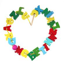 Cartoon Block Stringing Threading Beads Game Education Toy Wooden Letters Block Stringing Threading Beads DIY Toys for Children(China)