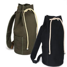New large capacity men drawstring backpack canvas bucket bag unisex Fashionable concise  bags