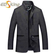 Men Stand Collar Jackets Mid-Old Trench Coat For Man Casual Long Sleeve Jacket Button Style Raincoat Pocket Solid Color Overcoat(China)