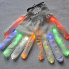 Halloween Party Supplies 1 Pair Unisex LED Luminous Gloves 6 Modes Flashing Glow Rave Cool Light Mittens Finger Glove HG(China)