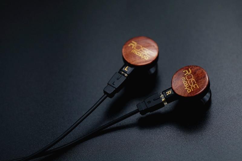 Rose Masya Wooden Face Panel Earbud Flat Head Earphone Double Dynamic Earbud HIFI DJ Monitor Earbud Earphone With 2Pin Cable