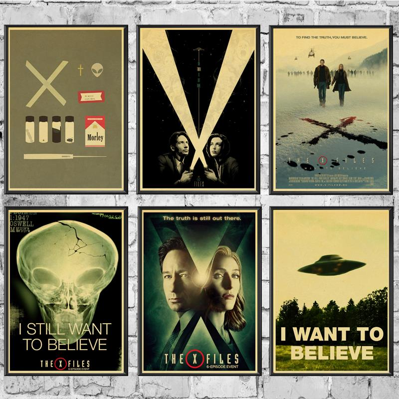 VINTAGE X-FILES I WANT TO BELIEVE UFO POSTER 18x24