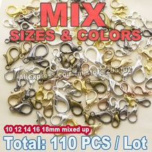 110PCS Mix Colors Sizes Lobster Clasp Gold Silver Rhodium Bronze for DIY necklace bracelet chain Jewelry Accessory Findings(China)