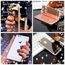 Fashion Luxury Ultra Slim Soft Case For Iphone 4 4S 5 5S SE 6 6S 7 Plus Clear Silicone Edge+Shinny Mirror Back Cover Phone Cases(China)
