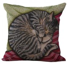 Factory Supply 2017 New Cute Lazy Curled Cat Printing Linen Decorative Throw Pillow Cushion For Children Holiday Gift(China)