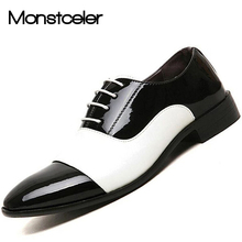Monstceler 2017 Spring Fashion Men Patent Leather Dress Shoes White Black Brand Male Wedding Oxford Shoes BJ3073(China)