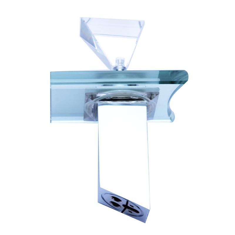 Glass LED Bathroom Basin Brass Sink Waterfall Chrome Centerset Mixer Tap Faucet<br><br>Aliexpress