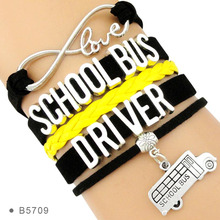 (30 PCS/lot) Infinity Love School Bus Driver Bracelets Best Gift for Black Yellow School Bus Jewelry Bracelets Drop Shipping(China)