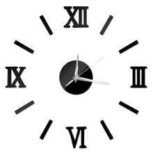 New 4 colors Wall Clock Stickr Decal For Home Decoration Living Room Wall Art Watched Modern DIY 3D Wall Clocks Brief Wall Clock