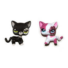 Pet Shop Sparkle Pink Short Hair & Black Cat Kitty Figure Toy FREE SHIPPING(China)