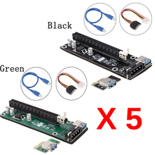 5 pcs For bitcoin Mining PCI-E Riser PCI Express 1x to 16x Extender Board Card USB 3.0 Adapter with SATA Power Cable & USB Cable