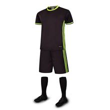 Free Shipping New Black Green Lines DIY Customized Name Boys Kids Soccer Jerseys Sets Children's Football Uniforms Suits Clothes