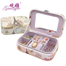 Promotional Classical Leather Jewelry Gift Boxes Printed Fashion Picture Simple Design Lady's and Lovely Girl's Jewel Casket(China)