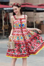 2018 Spring Summer Designer Dress Women's High Quality Sweet Fancy Flower Printing Crystal Button Boutique Spaghetti Strap Dress(China)