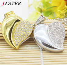 JASTER Diamond crystal heart usb flash drive USB 2.0 Memory Stick pendrive 8GB 16GB 32GB mini luxury necklace pendrives