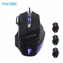 FASTDISK Wired Gaming Mouse 7 Button DPI LED Optical USB Gamer Computer Mice Cable Mous For Laptop game office(China)
