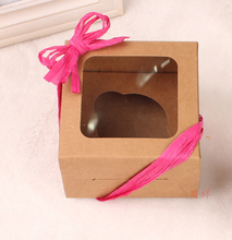 Alice,80*90*75mm Kraft paper packing box with PVC window ,Brown Christmas/Wedding Cup cake gift box ,Food paper box