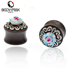 BODY PUNK 3D Blue Rose Outline Wood Ear Plug Expander Trendy Body Piercing Jewelry 6-16mm Round Tunnel Jewelry PLG 061(China)