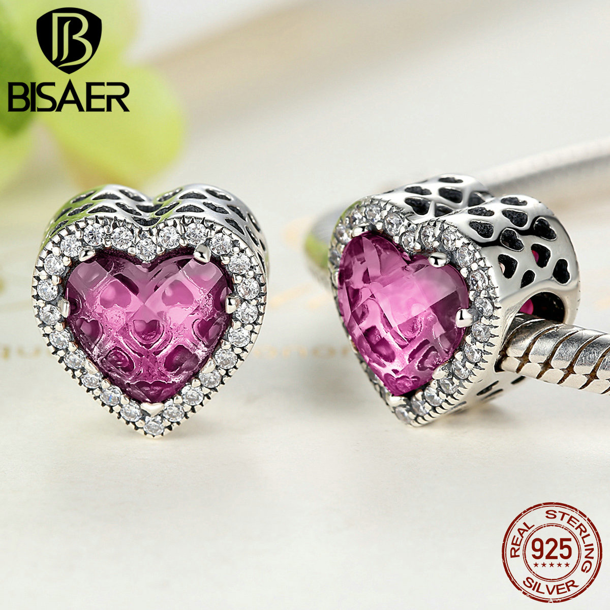 925 Silver Love Heart Pink Rose Red CZ Pendant Charm Bead Fit Sterling Bracelet