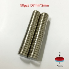 50pcs 7*2mm Super Powerful Strong Rare Earth Block NdFeB Magnet Neodymium N50 Magnets(China)