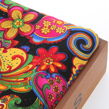 Upholstery Canvas Fabric Cotton Duck Fabric For Bag Shoes Shirt Home Decrotion DIY Handmade Cushion Red silk flower 50x155cm(China)