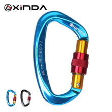 XINDA Professional 25KN Carabiner Master Lock D Shape Screw Gates Lock Climbing Rock Mountaineer Outdoor Equipment(China)