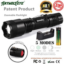 Sky Wolf Eye Bike Bicycle Light Flashlight Zoomable 5-Mode XMLT6 LED Torch Lamp Light 18650 Battery&Charger C3(China)