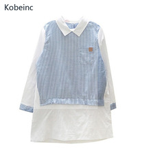 Buy Kobeinc Striped Long Sleeves Maternity T-shirt Cotton Long Section Pregnant Clothes Fake Two Pieces Female Tops Casual Loose Tee for $10.52 in AliExpress store