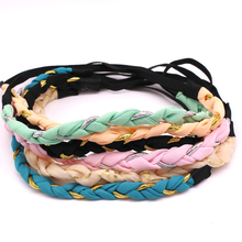 4 pcs vintage bohemian mixed color gold glitter chiffon flower braided knitted elastic headband hairband hair accessories set