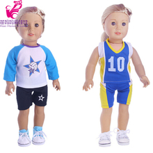 Football sports set for 18 inch American girl doll for baby gift, 43cm Baby Born zapf dolls shirt and pants(China)