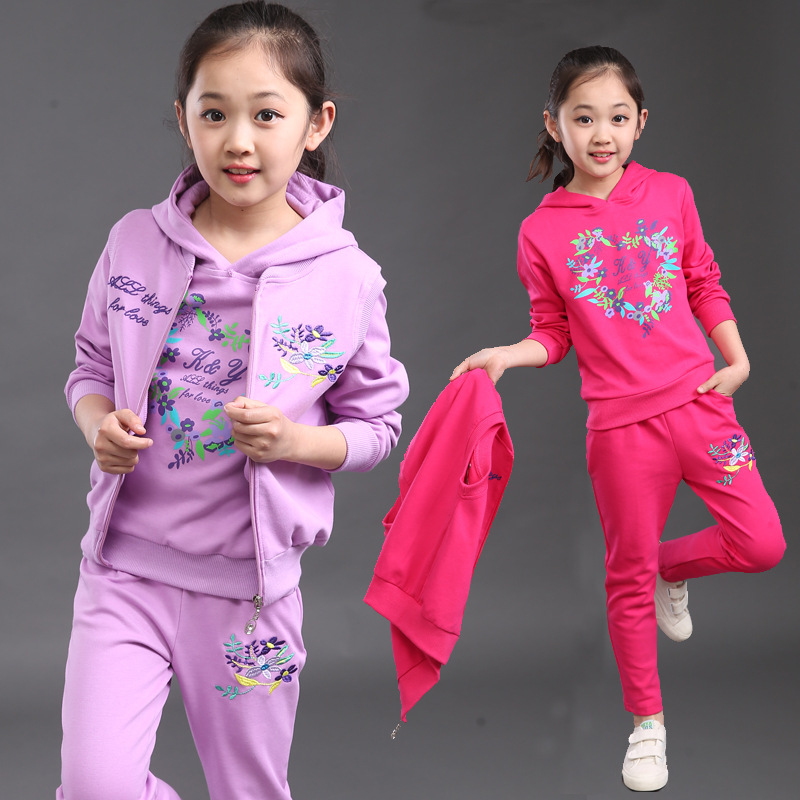 Girls Spring Autumn New Active Three-Piece Clothing Children Sports Sets girl vest three-piece suit baby sports wear set YL190<br>