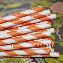 Hollaween Paper Straws Coral orange Striped Drinking Paper Straws Christmas Wedding Decoration supplies 75pcs