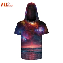 Alisister Galaxy Space Shirt With Cap 3d Hooded Shirt Hip Hop Hat T-shirt XXXL Summer Tee Tops Male Female Clothing Dropship(China)