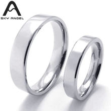 SkyAngel 1pcs New Cheap stainless steel rings for women silver simple fashion wedding ring men rings Jewellery Sale party gifts