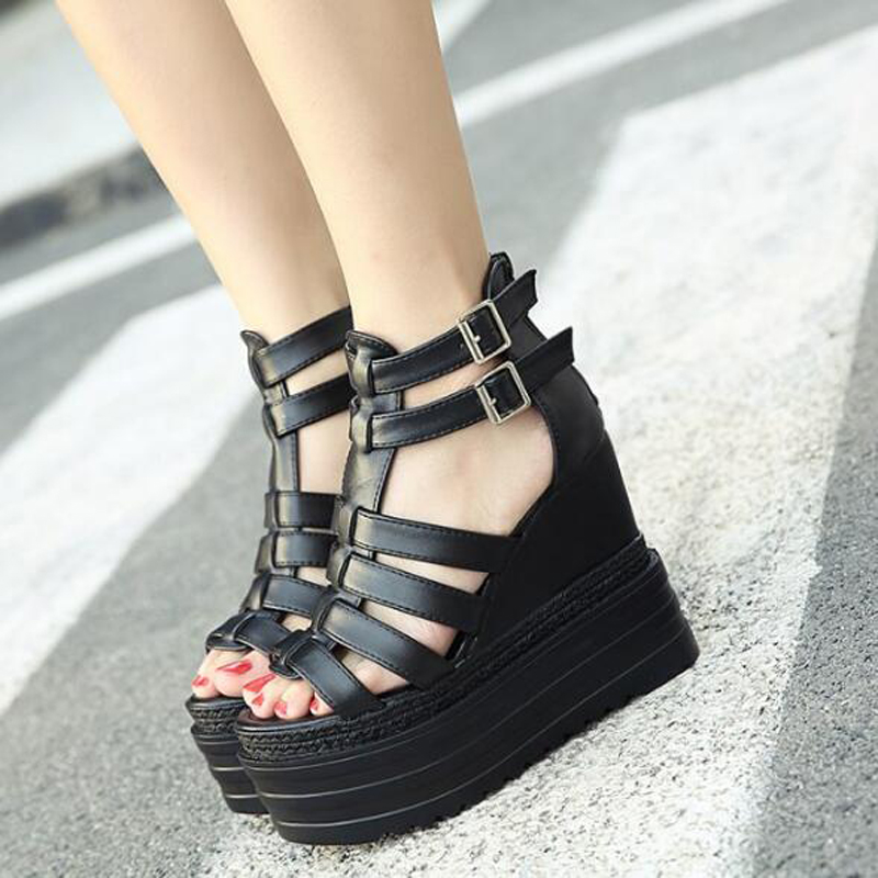 wedge platform sandals women shoes woman sandals strappy heels peep toe women sandals high heels shoes gladiator sandals D994<br><br>Aliexpress