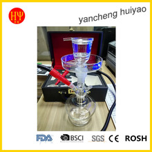Clear glass hookah with leather lock bag, high quality leather case for AL FAKHER glass shisha chicha hookah(China)
