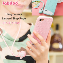 Fabitoo Soft Silicone Cover Case For iPhone 7 Ice cream Chocolate Hang on neck Lanyard Strap Rope Capa For iPhone 7 Plus