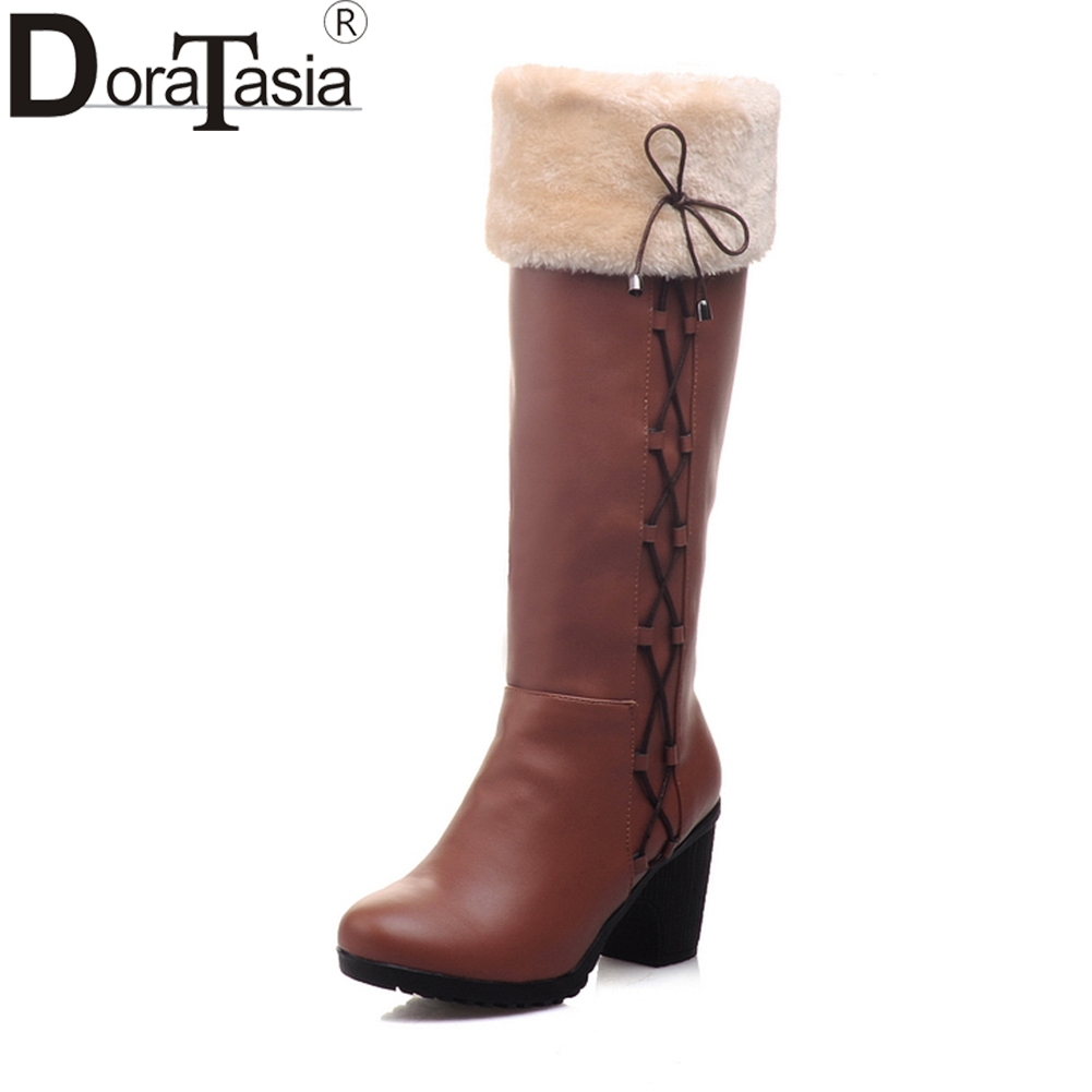 DORATASIA 2018 Brand Large Size 34-43 Add Fur Winter Riding Boots Fashion High Heels Slip On women