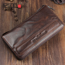 AETOO Pure handmade sheepskin retro long wallet men's zipper folds to do old leather soft youth handbag hand strap(China)