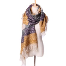 2017 Large Size Fashion Women Winter Mohair Scarf Long Warm Scarves Wraps Lady Casual Patchwork Accessories