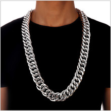 New 26mm Width 322g Super Heavy Mens Aluminum Hip Hop Chain 24k Solid Gold Filled Finish Thick Miami Cuban Link Necklace Chain