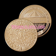XDC0034 5 Pieces Mayan Aztec calendar stone Gold Coin Mayan Prophecy Commemorative Coin 2012 Doomsday Sun Stone Gold Round