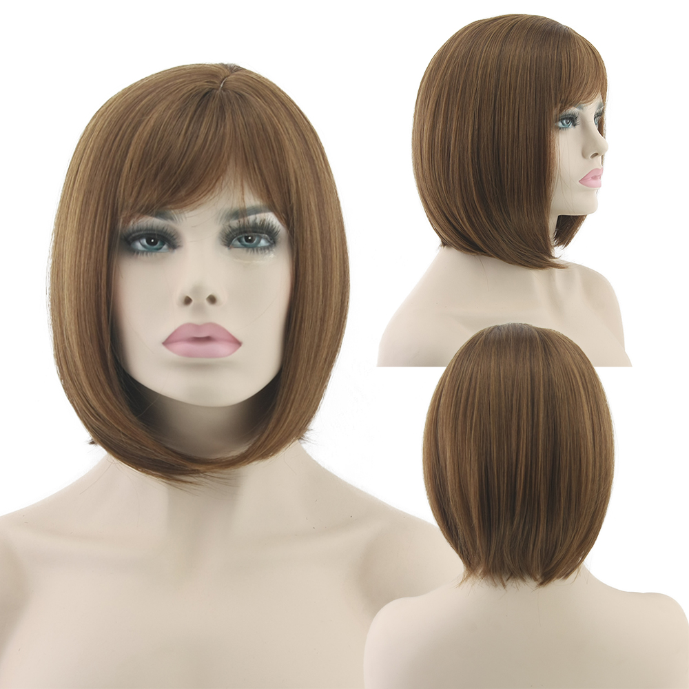 Short Straight BOBO Wigs Women Synthetic Hair Heat Resistant Remy Hair Brown Wig<br><br>Aliexpress