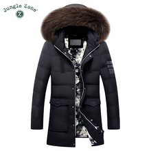 Men's Duck Down Jacket Plus Size Winter White Duck Down Jackets XXL XXXL Zipper Coat Natural fur collar Warm Clothing Overcoat(China)