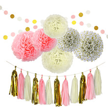 TAOS 20Pcs Paper Decorations Set Pom Poms Flower Shape Balls Tassels String Accessories for Birthday Bachelorette Party Wedding