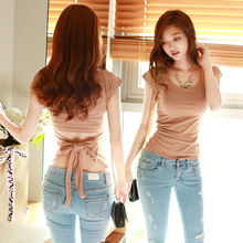 Summer Korean Hollow open waist woman sexy solid night club Shirt Cute bow knot Short Sleeve T-shirt o-neck fashion Tight top