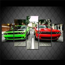 5 Piece canvas art new Printed Challenger Green Red Cars decoration for home Print Poster Picture Canvas Painting Wall Art\C-324