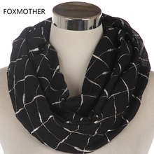 FOXMOTHER New Fashion Ladies Black Pink Grey Metallic Foil Silver Plaid Check Pattern Snood Infinity Scarf For Womens(China)